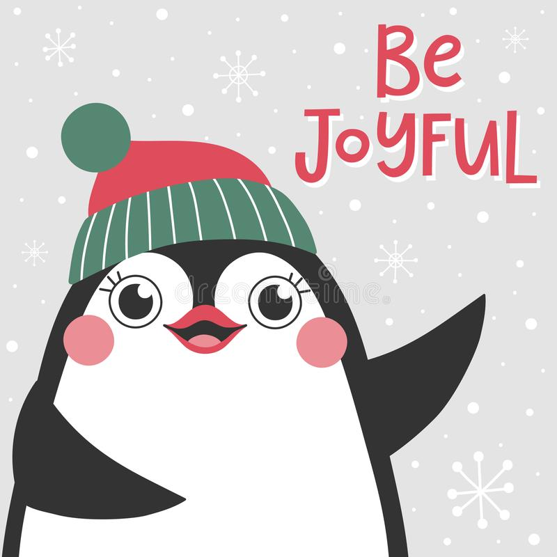 Christmas card with cute penguin and text Be joyful. vector illustration