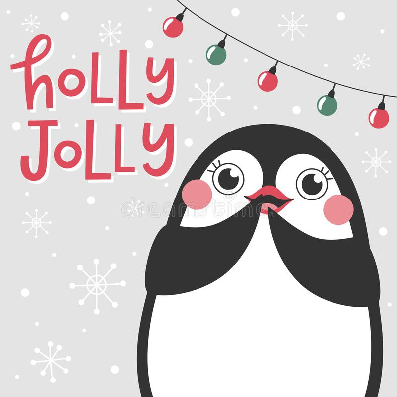 Christmas card with cute penguin and text Holly Jolly. vector illustration