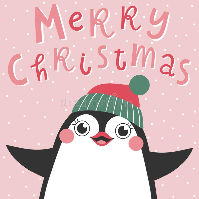 Christmas card with cute penguin and text Merry Christmas. vector illustration