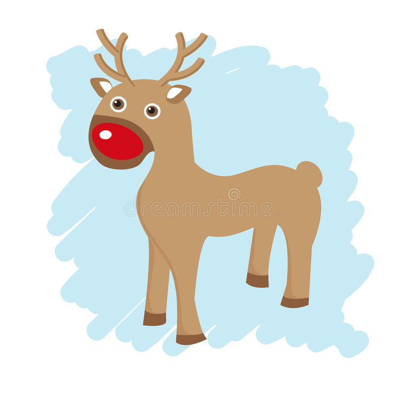 Christmas Card With Cute Reindeer Royalty Free Stock Photo