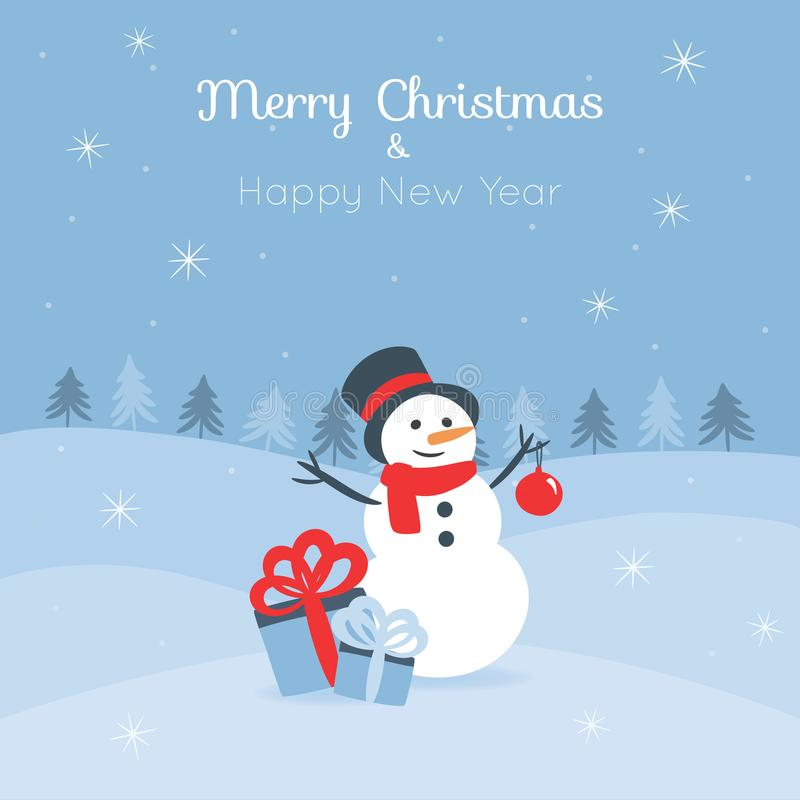 Christmas card with a cute snowman royalty free stock image