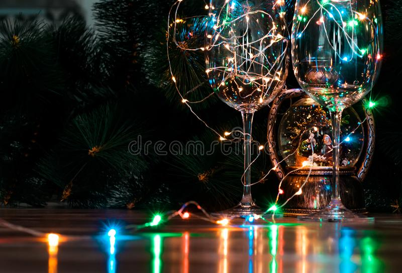 Christmas card with decor and bright garland stock photo