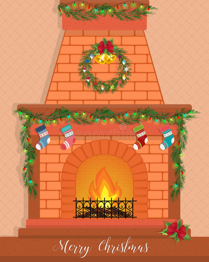 Christmas card with a decorated fireplace. vector illustration