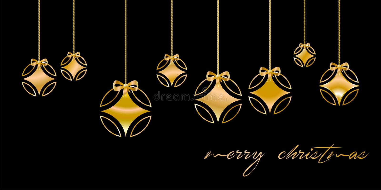 Christmas card decorated with silver ball, and with golden `Merry Christmas` congratulations, on black background. English languag. E 1 vector illustration