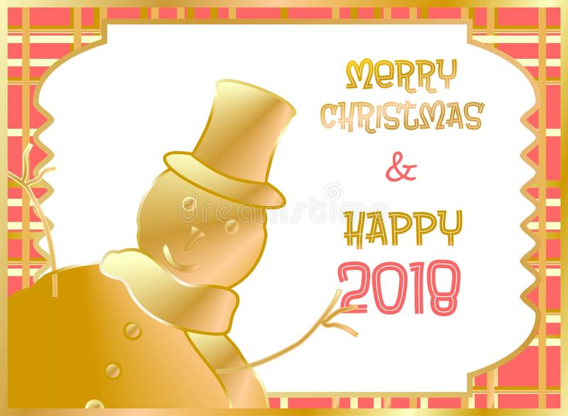 Christmas card decorated with snow puppet golden and orange. Merry Christmas and Happy New Year royalty free stock image