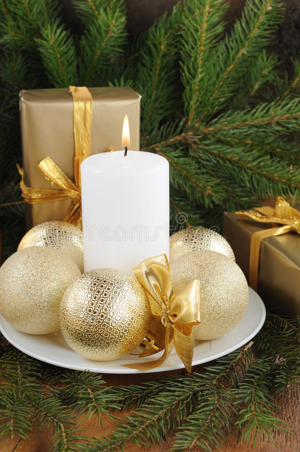 Christmas Card with decorations - white candle, xmas tree and color balls. royalty free stock images