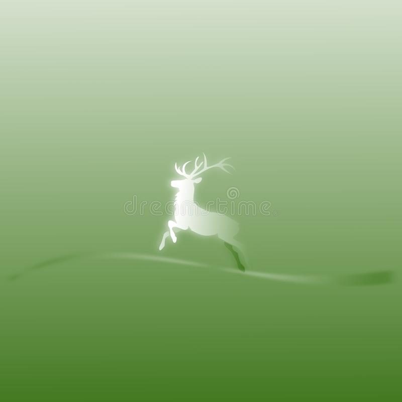 Christmas card deer. Christmas card in green with a deer royalty free illustration