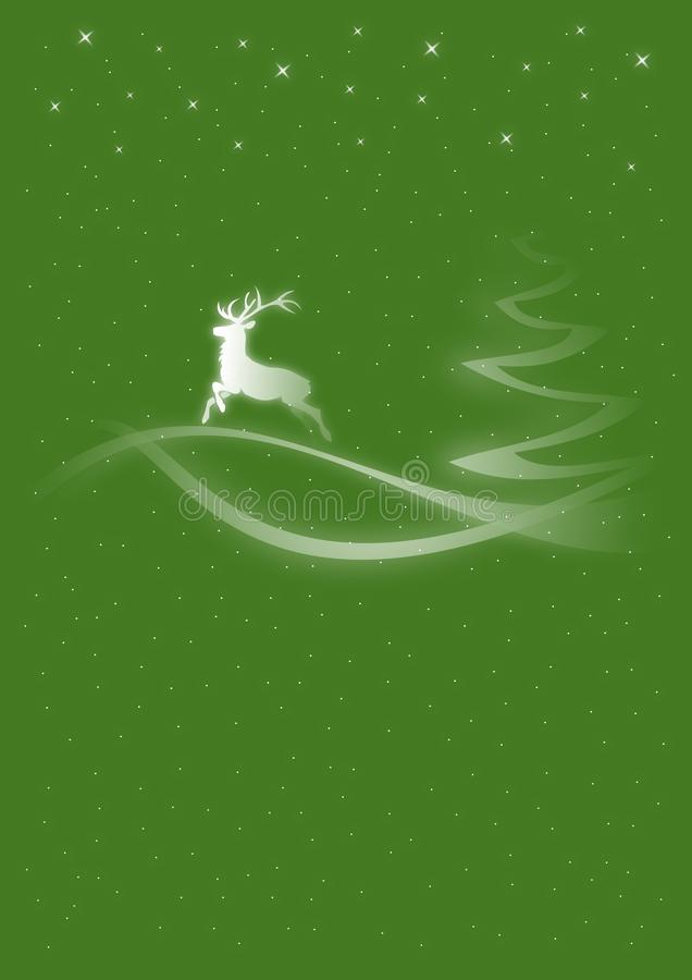 Christmas card deer. Christmas card in green with a deer stock illustration