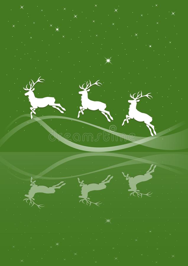 Christmas card deer. Christmas card in green with a deer vector illustration