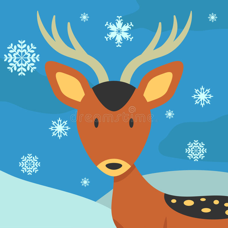 Download Christmas card with deer stock vector. Image of fawn - 27496530