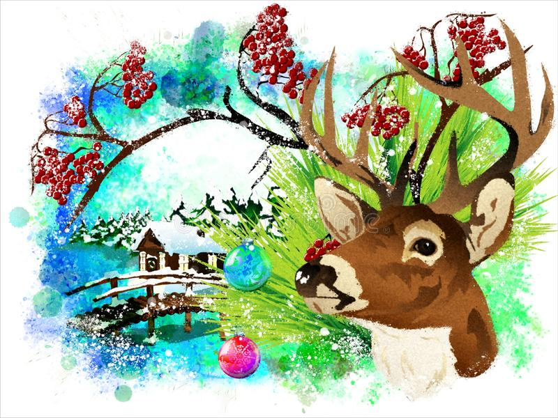 Christmas card with a deer and a bullfinch. stock images