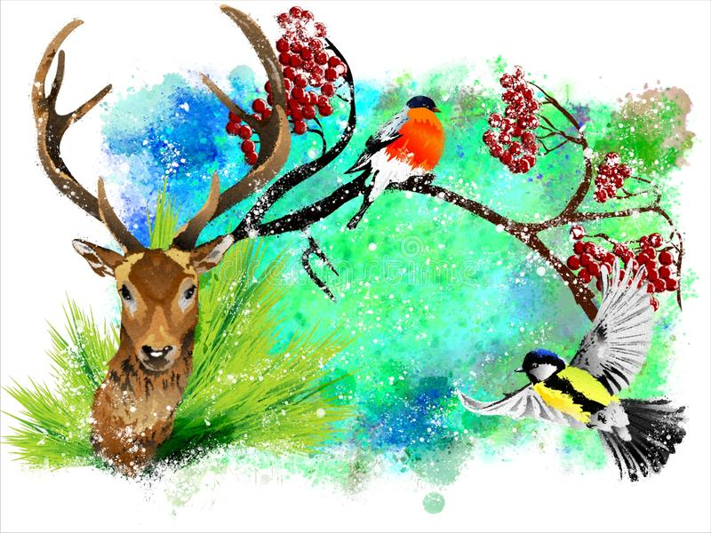 Christmas card with a deer and a bullfinch on a colorful abstract background. stock photos