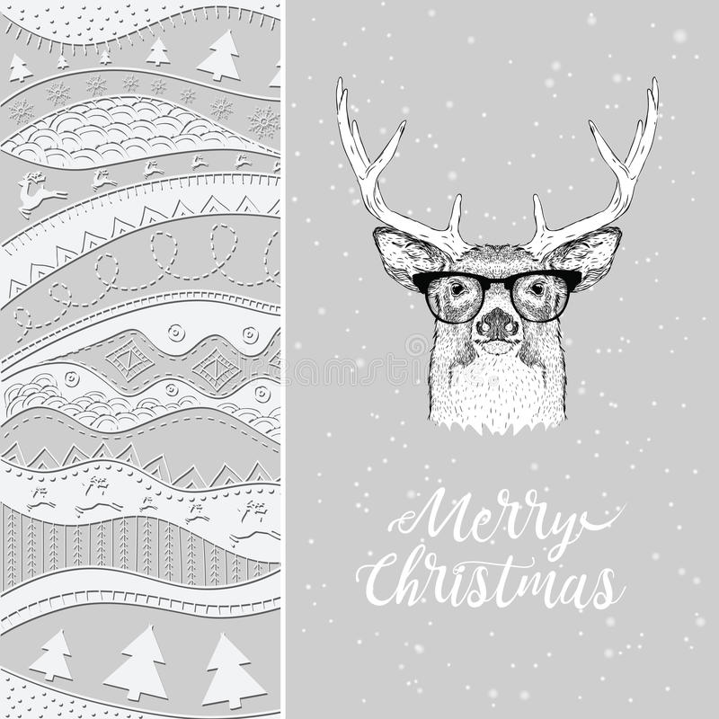 Christmas card with deer in winter hat. Christmas hand-drawn ethno pattern, tribal background. Vector illustration royalty free illustration