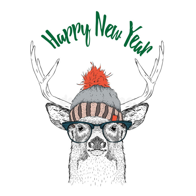 Christmas card with deer in winter hat. Merry Christmas lettering design. Vector illustration vector illustration