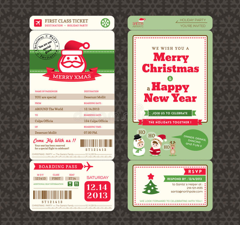 Free Christmas Card Design Boarding Pass Ticket Template Stock Image - 46783881