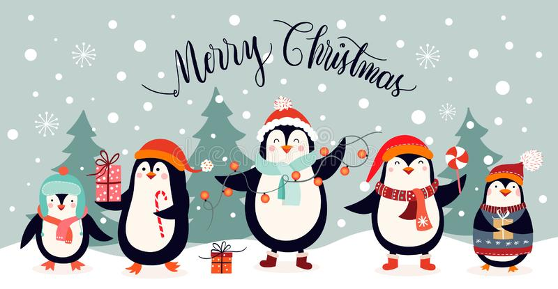 Christmas card design with cute penguins on an winter landscape vector illustration