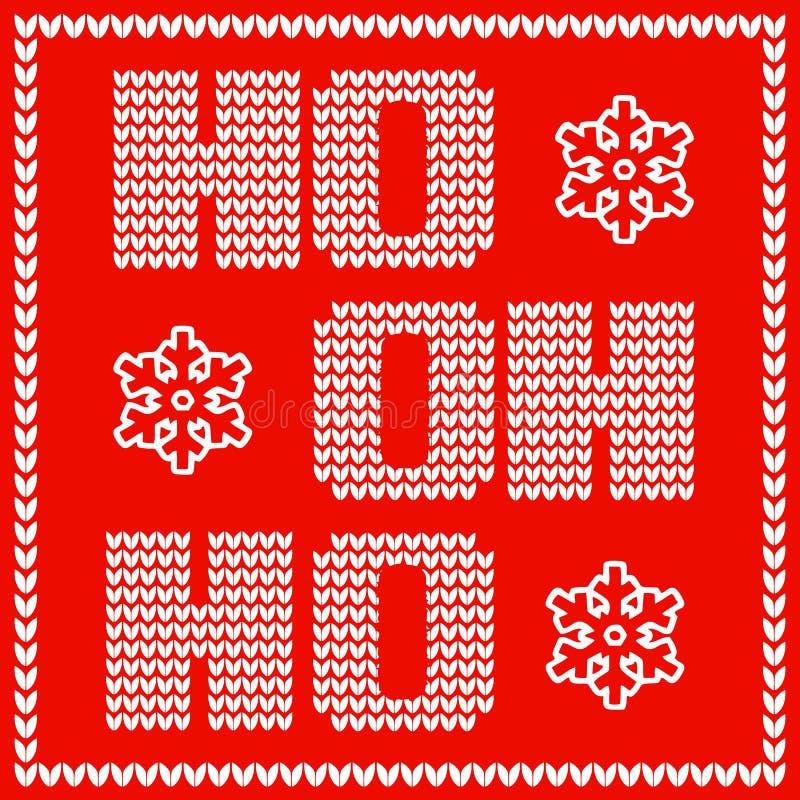 Christmas card design with knitted santas sayings words ho ho ho. Christmas card design with knitted words ho ho ho. Lettering on blurred violet background vector illustration