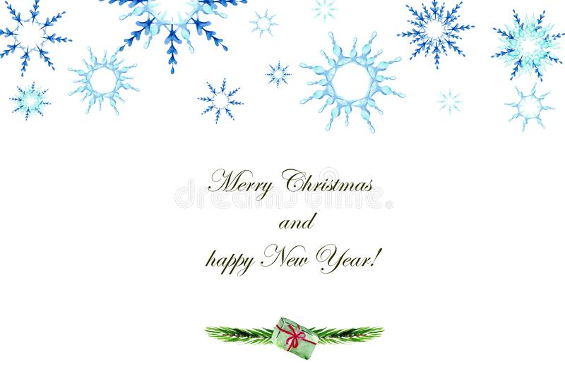 Christmas card design with snowflakes, fir branches and gift on white background with space for text. stock photos
