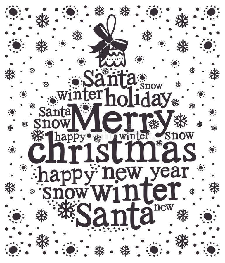 Christmas card. Christmas design card with words stock illustration