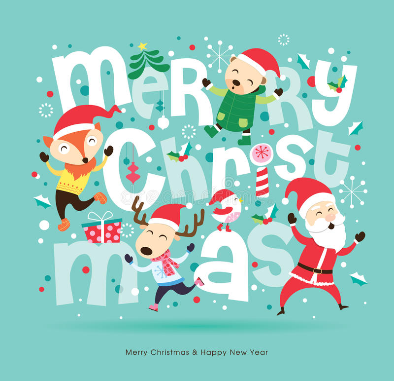 Christmas card. Designed with Santa Claus & friends