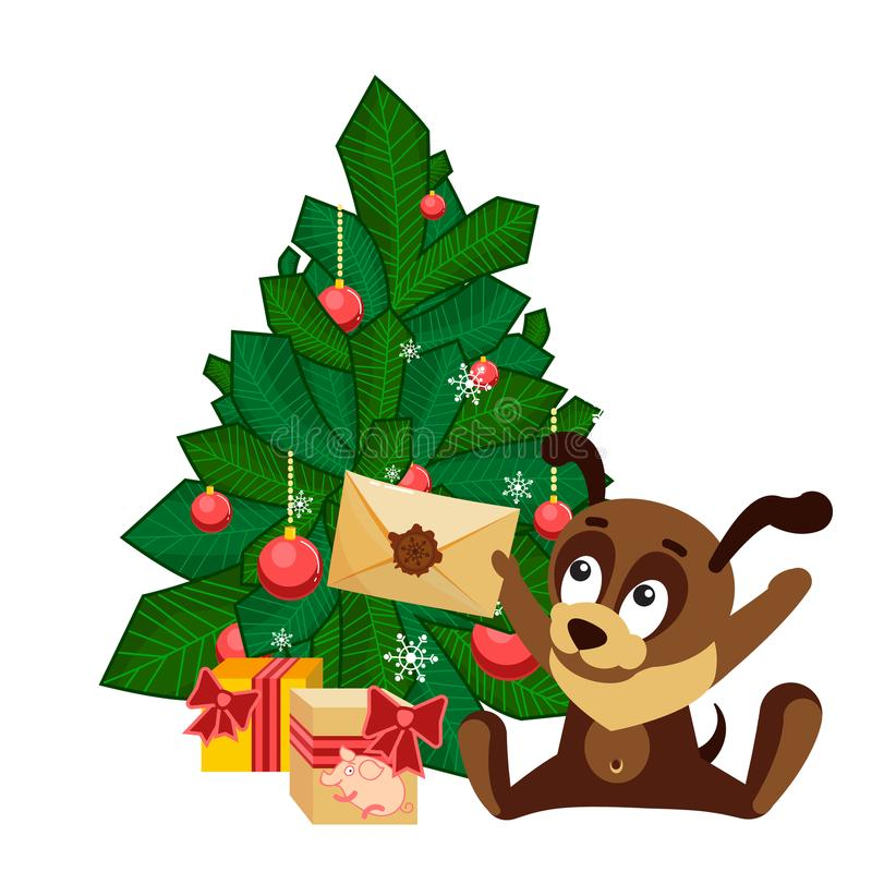 Christmas card with a dog sitting in front of tree with decorated balls and holding an envelope from Santa Claus vector illustration