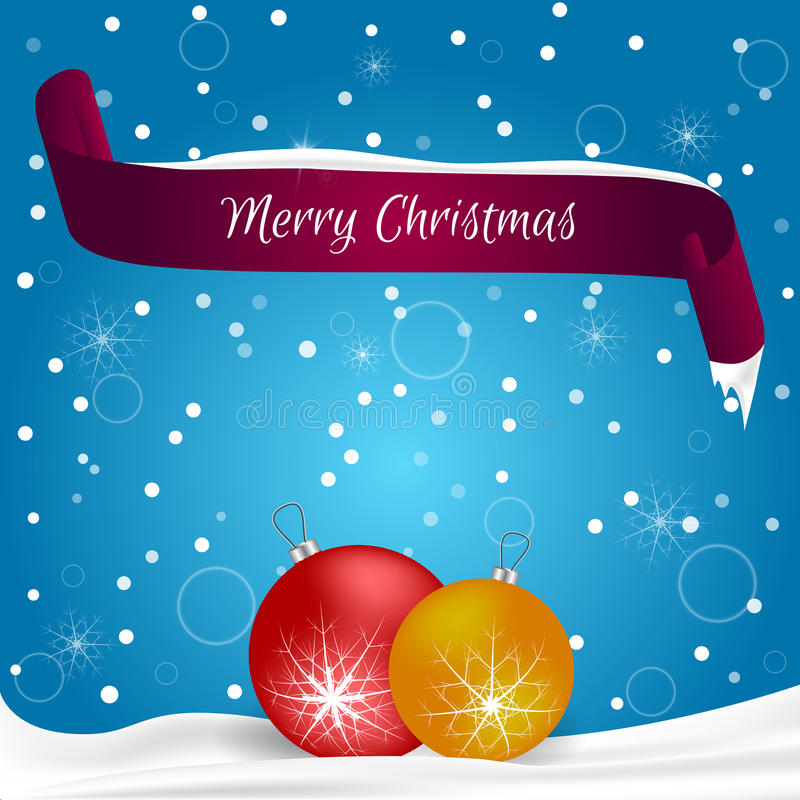 Christmas card done in blue with snowflakes, red banner with the words Merry Christmas, snow lay two red and yellow ball. Suitable. For web design and for the stock illustration