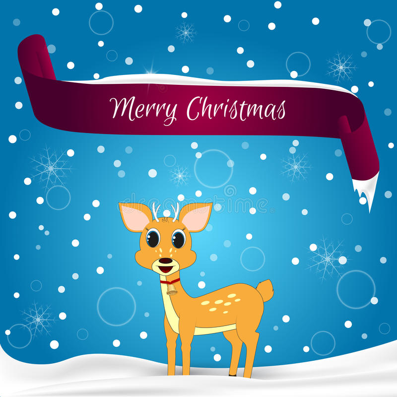 Christmas card done in blue with snowflakes, red banner with the words Merry Christmas, snow is lying on the deer. Suitable for we. B design, and for the vector illustration