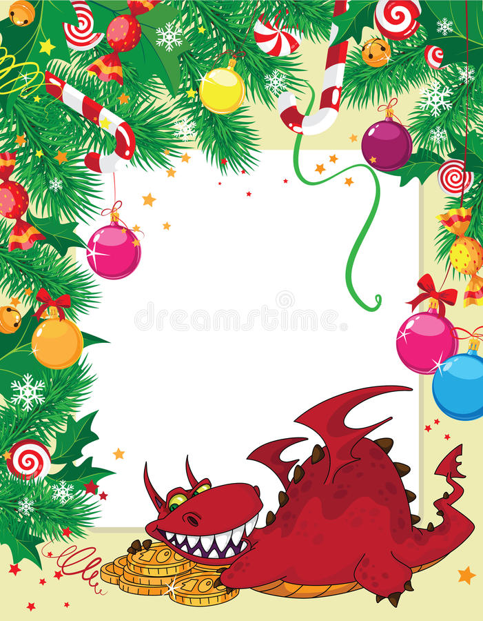 Download Christmas Card And Dragon With Money Royalty Free Stock Images - Image: 22350629