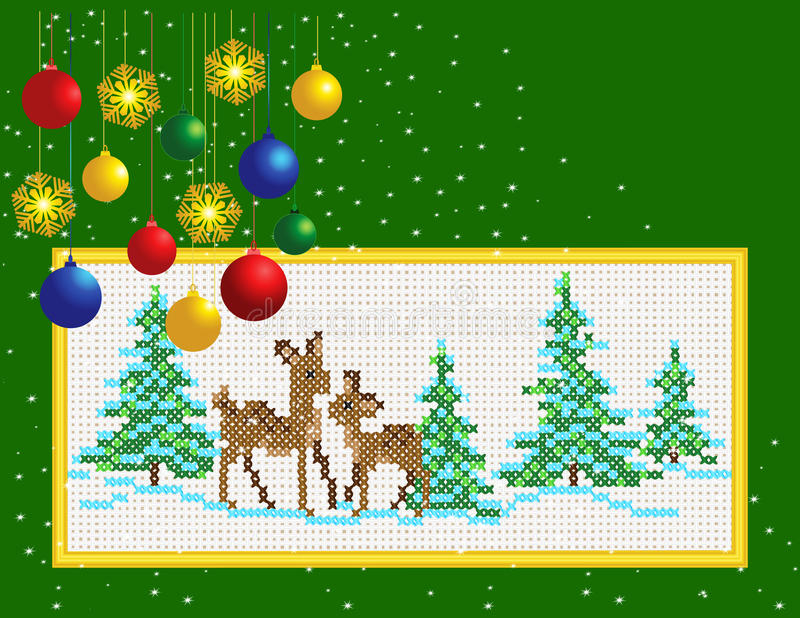 Christmas Card Embroidered with a cross.