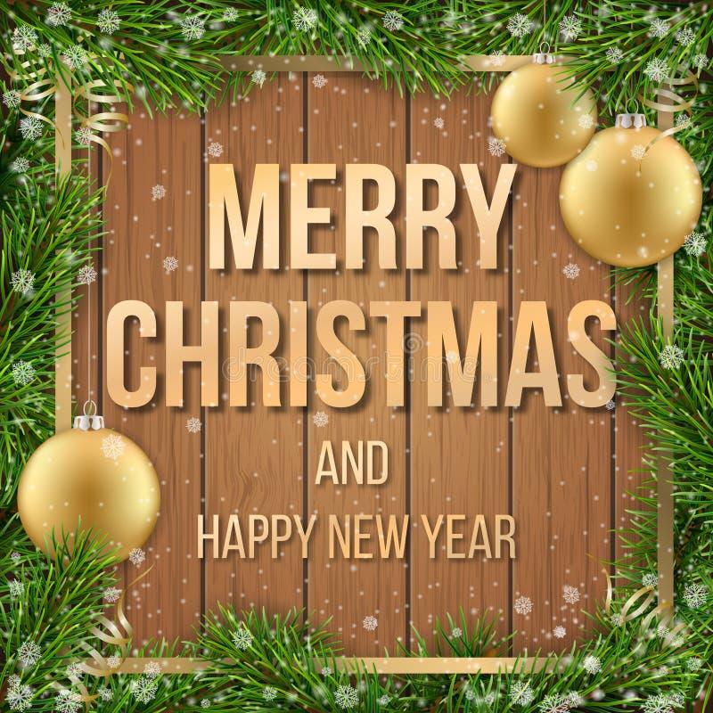 Christmas card fir tree ball wooden background. Christmas greeting card with fir tree frame, christmas ball and text on wooden background stock illustration