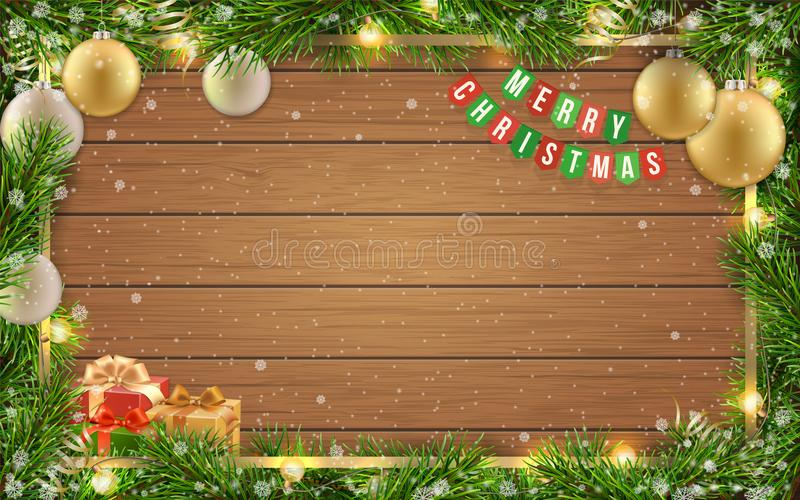 Christmas card fir tree ball wooden background. Christmas greeting card with fir tree frame, golden christmas ball and space for congratulatory text on wooden royalty free illustration