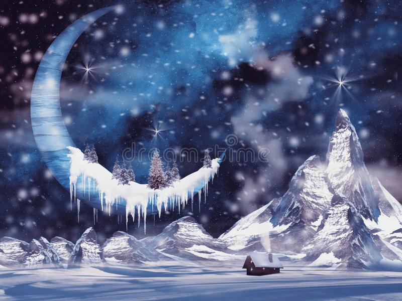 Christmas card with frozen moon. And snowed fir trees on it; snowed mountains, house and night starry sky, fantasy background vector illustration