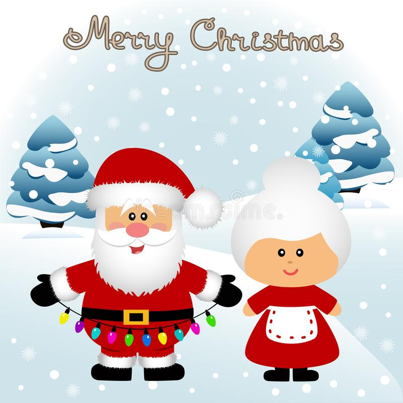 Christmas card. Funny postcard with Mrs. Santa Claus and Santa Claus. stock photography