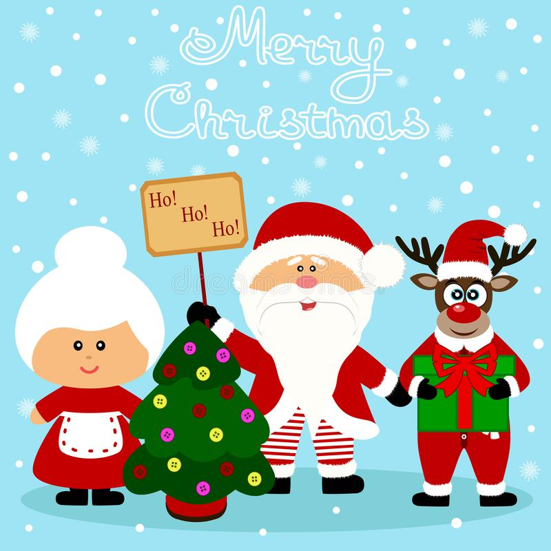 Christmas card. Funny postcard with Santa Claus, Mrs. Santa Claus and Christmas reindeer. royalty free stock photo