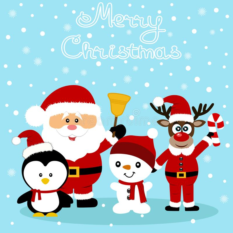 Christmas card. Funny postcard with Santa Claus, Christmas reindeer, snowman and penguin. royalty free stock image