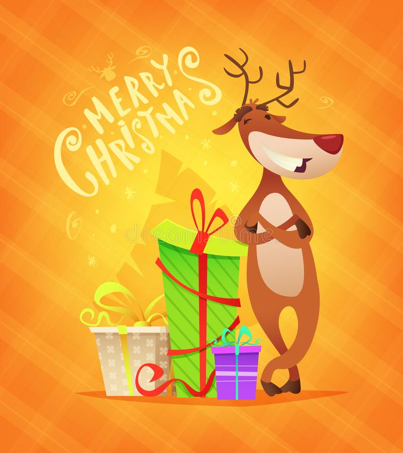 Christmas card with funny reindeer and some gifts. Deer character design. Cartoon style vector illustration. stock illustration