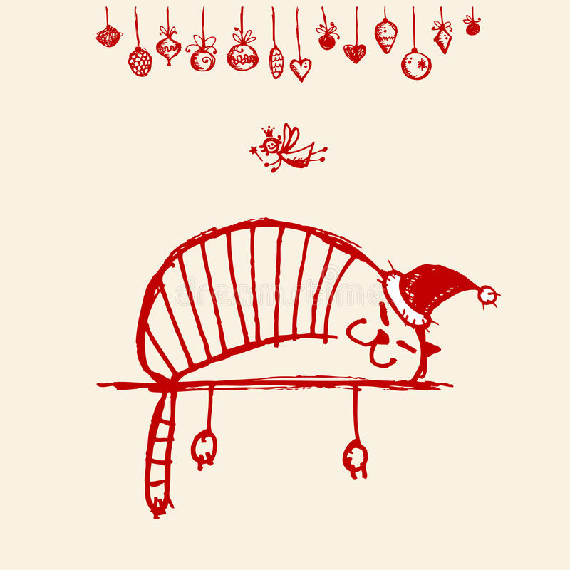 Christmas card, funny santa cat for your design