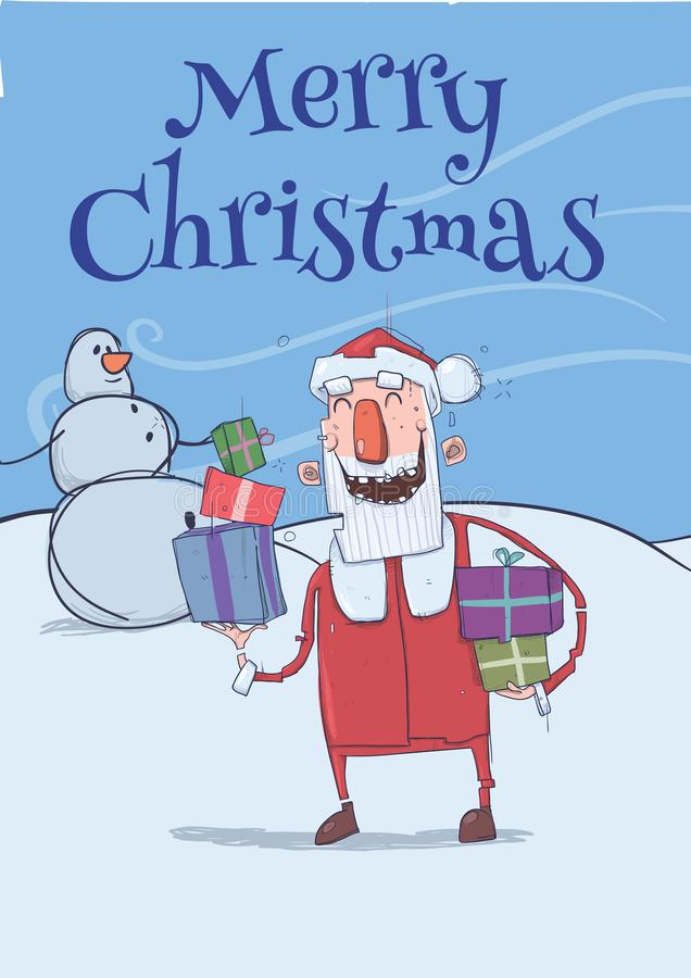 Christmas card of funny smiling Santa Claus. Santa brings presents in colorful boxes past snowman. Frosty windy weather stock illustration