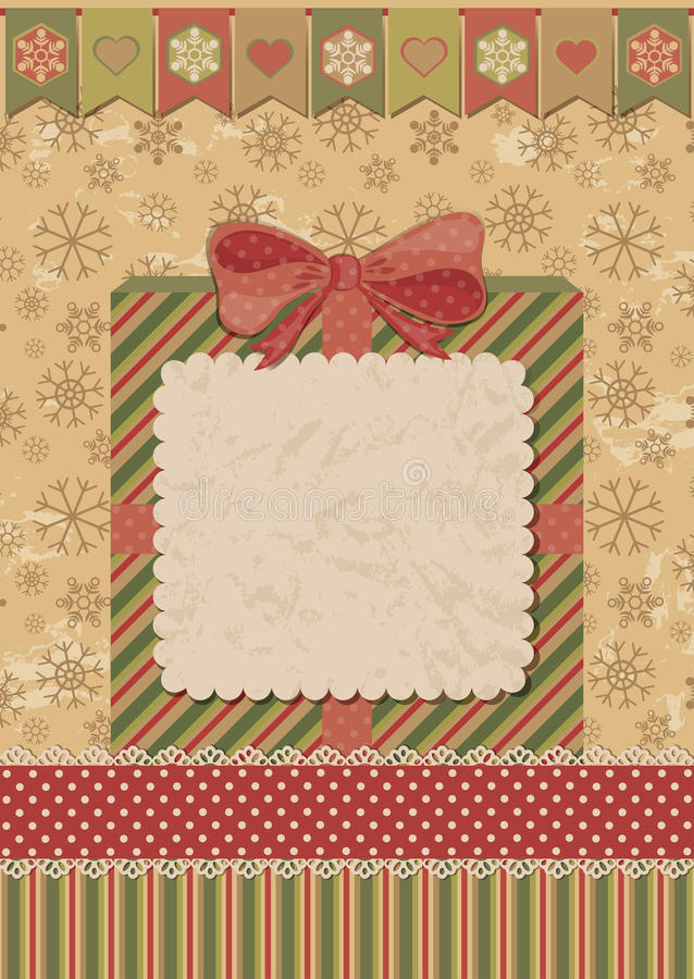 Christmas Card With Gift Box Stock Photography