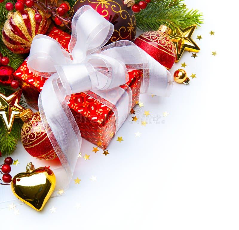 Christmas card gift boxes Christmas decorations stock photo