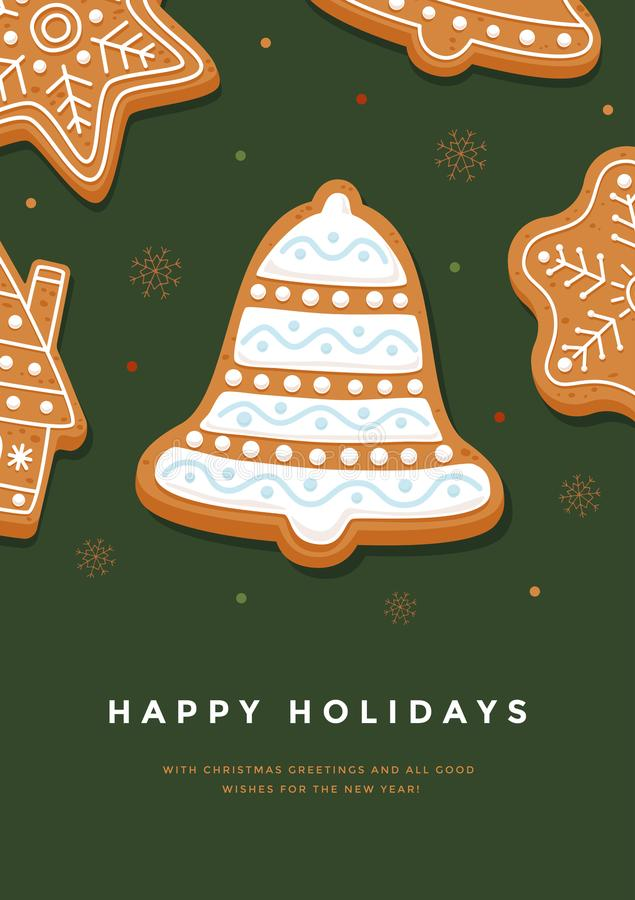 Christmas card gingerbread bell with glaze and inscription Happy Holidays on green background. Template for design of your holiday cards. Vector illustration vector illustration
