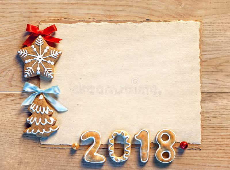 Christmas card with gingerbread cookies, 2018 royalty free stock photos