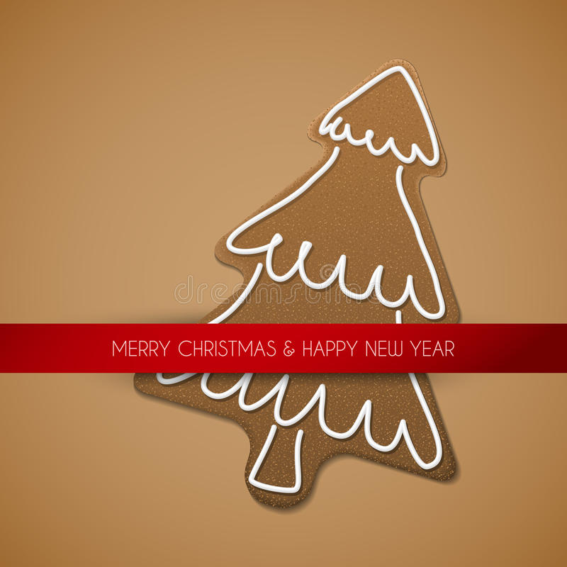 Christmas card - gingerbread tree. With white icing on brown background and place for your text vector illustration