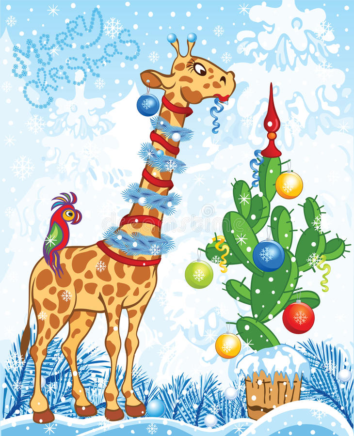 Christmas card with giraffe and cactus stock illustration