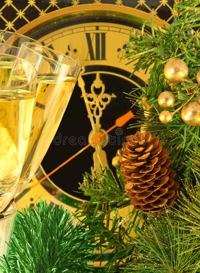 Christmas Card. Glasses Of Champagne Stock Photo