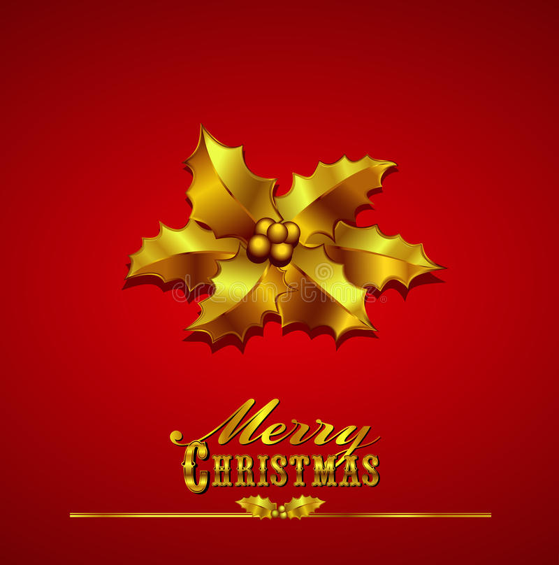 Download Christmas Card With Gold Holly On A Red Background Stock Vector - Image: 27507139