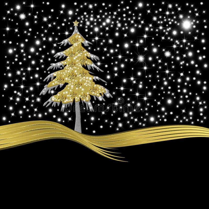 Christmas card gold tree ornate with golden fleur-de-lis stock illustration