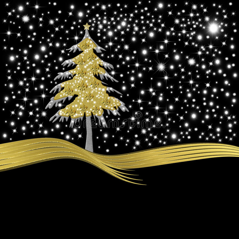 Free Christmas Card Gold Tree Ornate With Golden Fleur-de-lis Royalty Free Stock Photo - 35683645