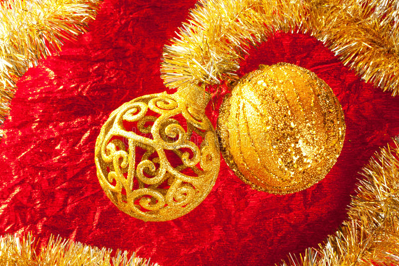 Download Christmas Card Golden Bauble And Tinsel On Red Stock Image - Image: 21911949