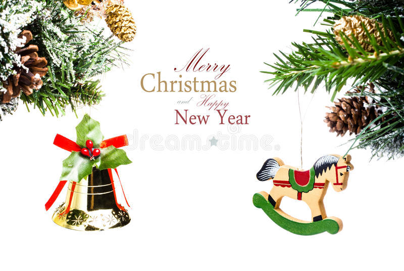 Christmas Card With Golden Bell And Wooden Horse With Decoratio
